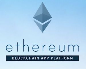 Ethereum Coin Logo auf blauem Background